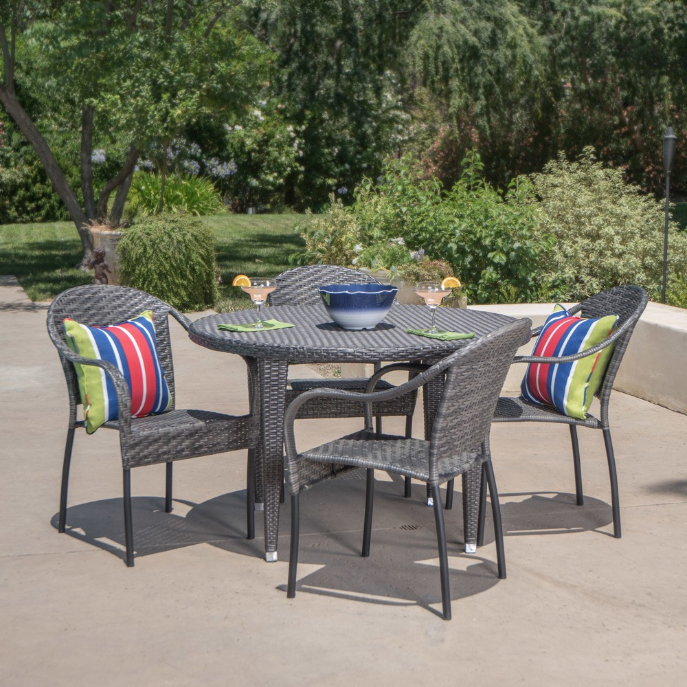 Image of Belvedere 5pc Wicker Dining Set - Gray - Christopher Knight Home