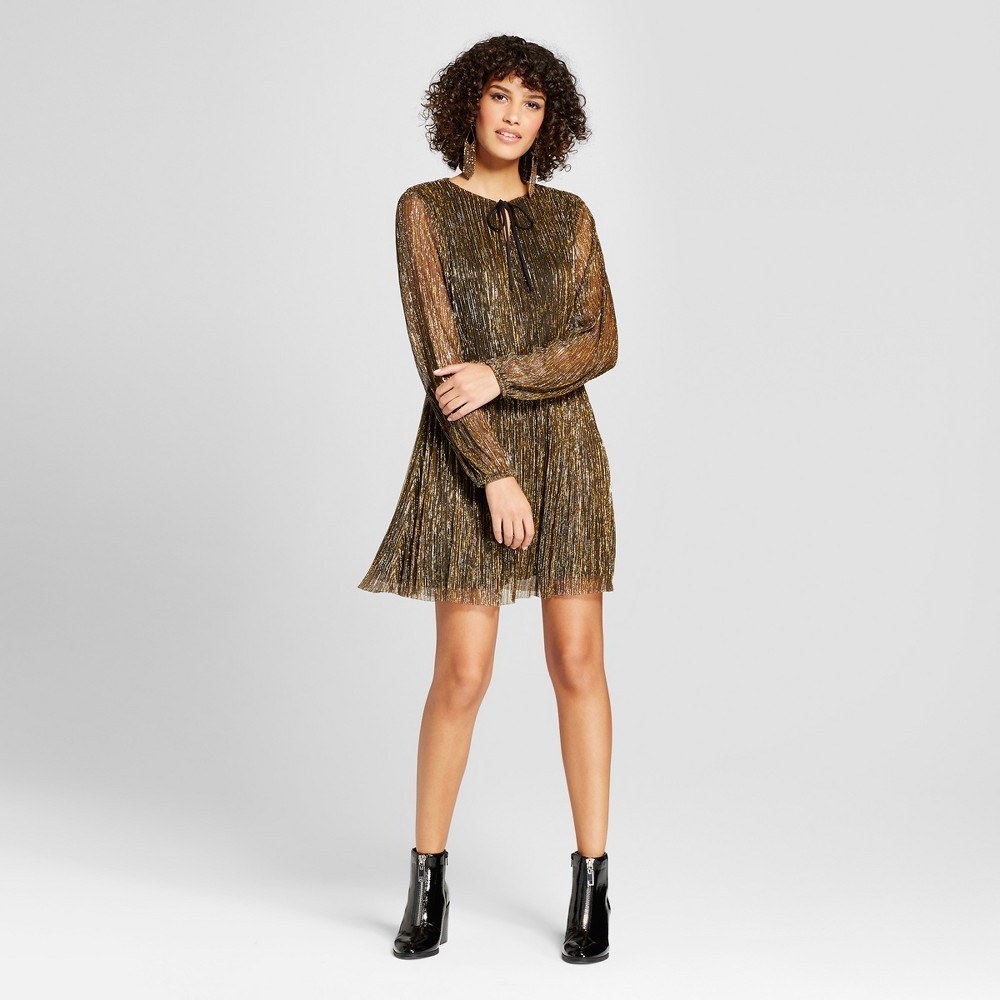 Women's Metallic Bodre Fit & Flare Dress - Xhilaration Black/Gold XS