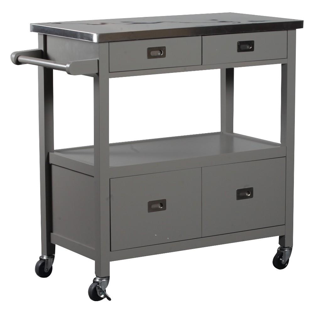 Sydney Kitchen Cart - Gray Wood - Linon