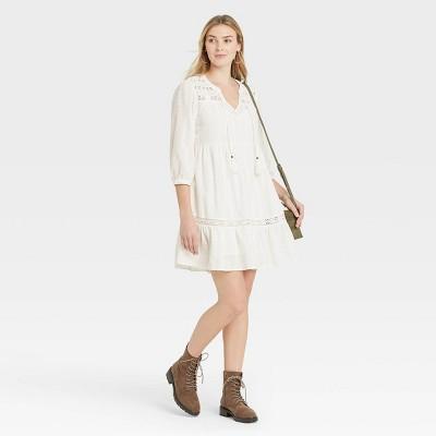 Women's Long Sleeve Peasant Shift Dress - Knox Rose™