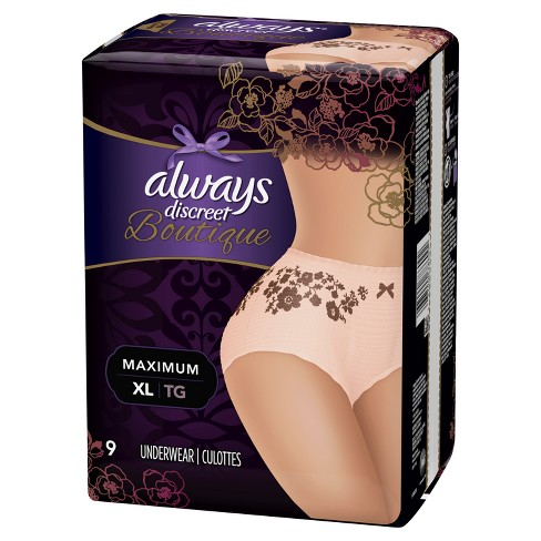 Always Discreet Boutique Incontinence Underwear for Women - Maximum Absorbency - Rose - X-Large - 9ct - image 1 of 2