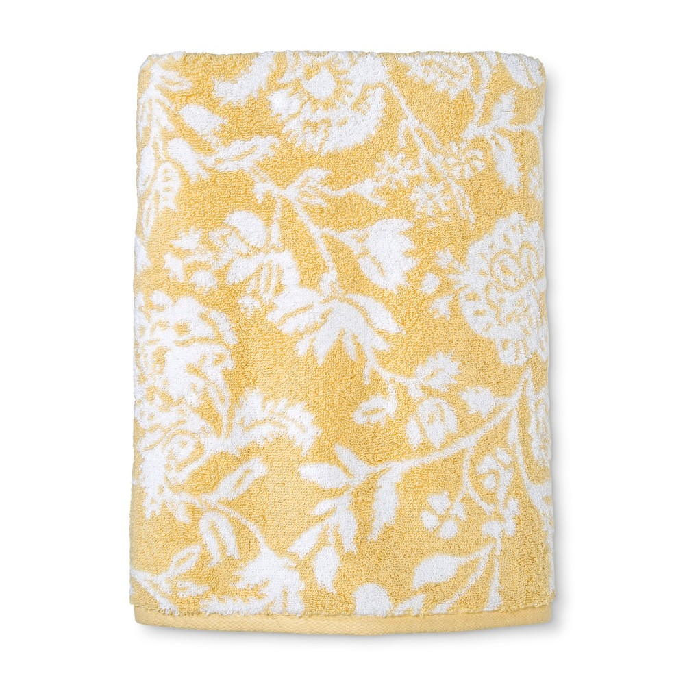 Performance Floral Texture Bath Towel Yellow Floral - Threshold
