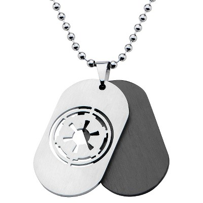 """Men's Star Wars Galatic Empire Stainless Steel Symbol Double Stainless Steel Dog Tag Chain Necklace (22"""")"""
