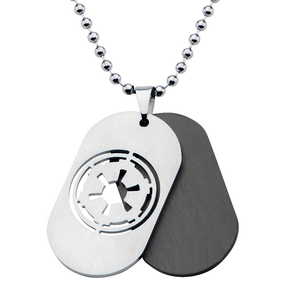 """Image of """"Men's Star Wars Galatic Empire Stainless Steel Symbol Double Stainless Steel Dog Tag (22""""""""), Size: Small, Silver"""""""