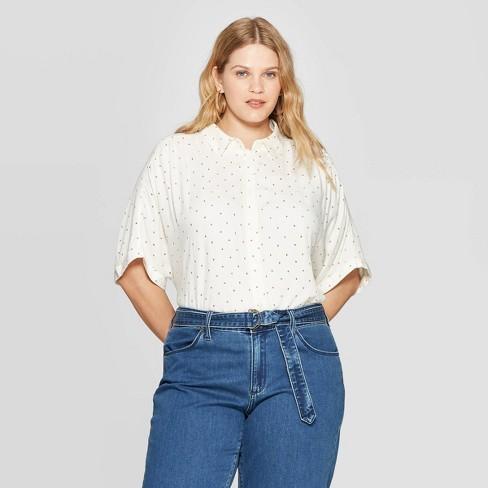 b05c254b Women's Plus Size Short Sleeve Collared Button-Down Shirt - Universal  Thread™ White/Red : Target