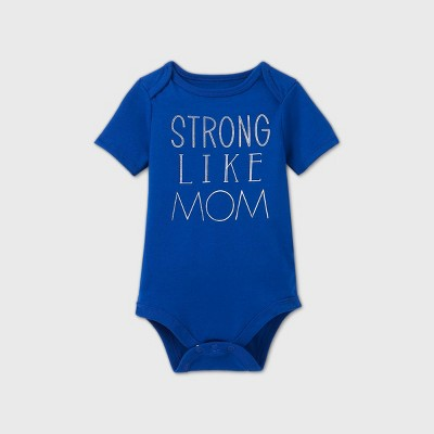 Baby Short Sleeve 'Strong Like Mom' Graphic Bodysuit - Cat & Jack™ Navy Newborn