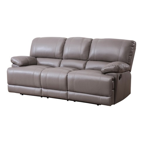 Renne Top Grain Leather Reclining Sofa Gray - Abbyson Living