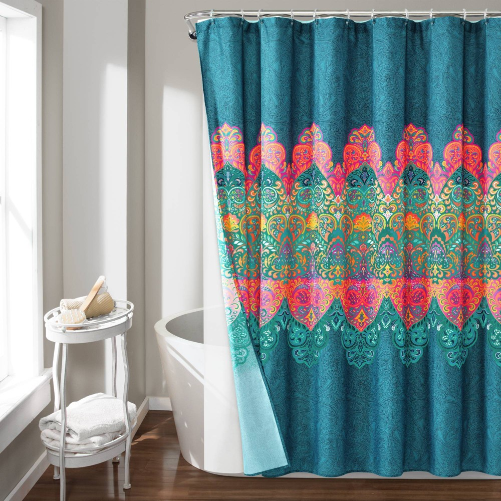 Image of 14pc Boho Chic Shower Curtain with Peva Lining and Rings Set Navy - Lush Decor, Blue