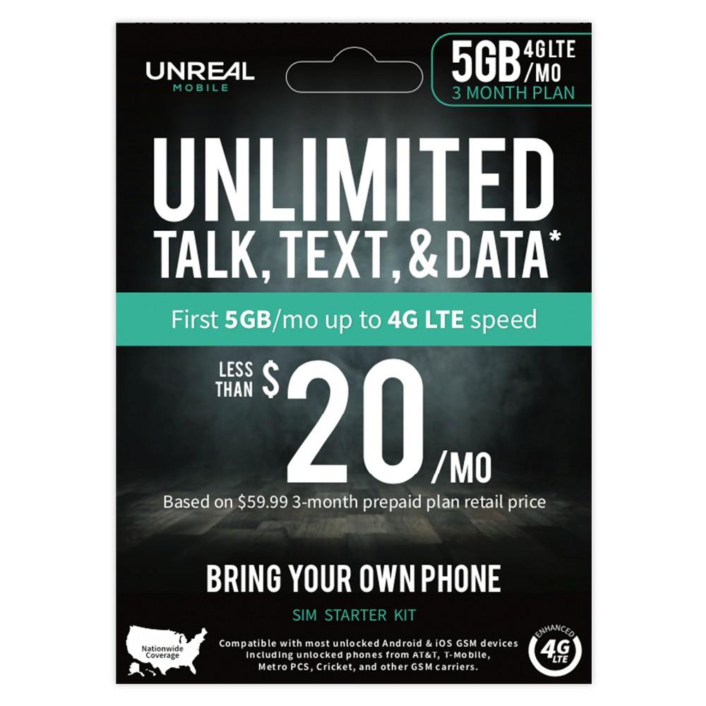 UNREAL Mobile 3-Month SIM Kit (5GB 4G/Month)