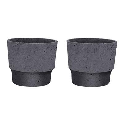 The HC Companies 3 Inch Round Plastic Sprite Decorative Indoor Flower Succulent Planter Pot with Drain Plug Hole, Faux Concrete (2 Pack)