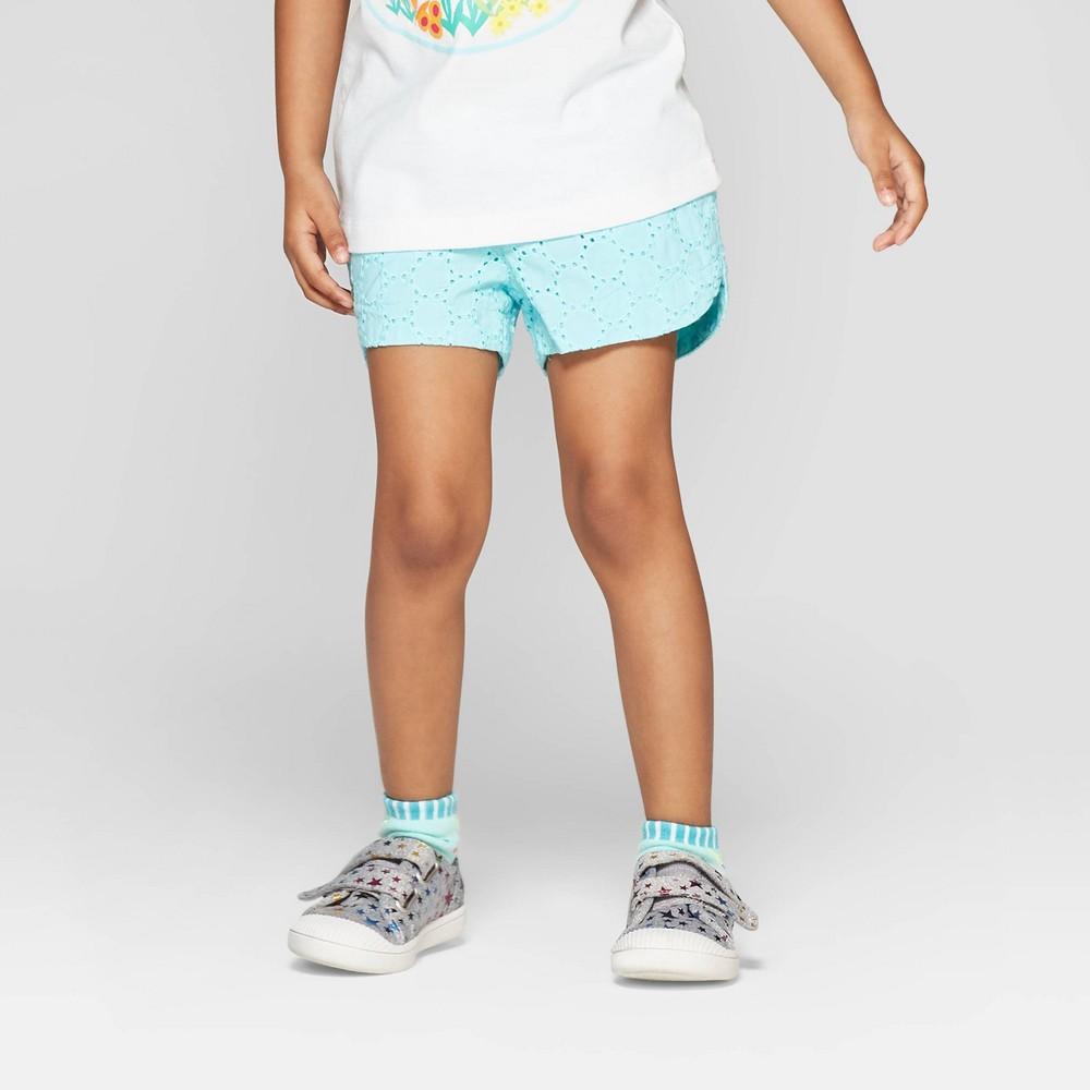 Toddler Girls' Eyelet Woven Shorts - Cat & Jack Aqua 3T, Blue