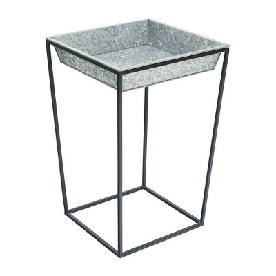 Indoor Outdoor Iron Arne Plant Stand with Galvanized Steel Tray Black Powder Coat Finish - Achla Designs