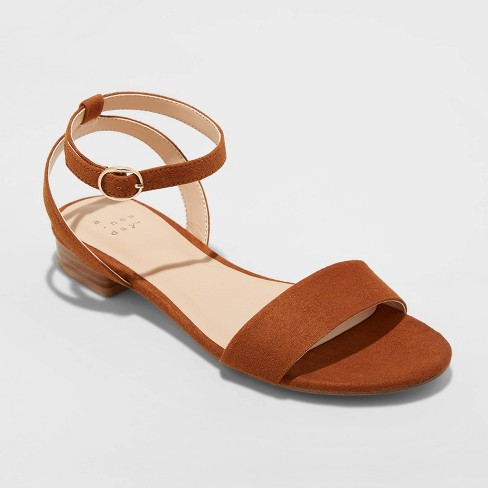Women's Makenzie Microsuede Ankle Strap Sandals - A New Day™ Cognac - image 1 of 3
