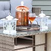 "Sunnydaze Outdoor Lucien Hanging Tabletop Solar LED Rustic Farmhouse Decorative Candle Lantern - 9"" - White - 2pk - image 3 of 4"