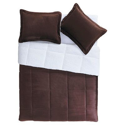 Chocolate Brown Micro Mink Sherpa Reversible Comforter Set 3 Piece (Queen)- VCNY