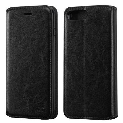 MYBAT For Apple iPhone 7 Plus/8 Plus Black Leather Fabric Case w/stand w/card slot