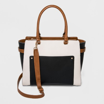 Wing Tote Bag - A New Day™ Black/Cognac