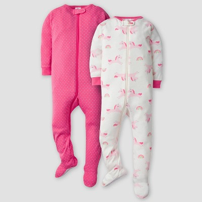 Gerber Baby Girls' 2pk Unicorn Long Sleeve Footed Unionsuit - Pink/Off White 9M