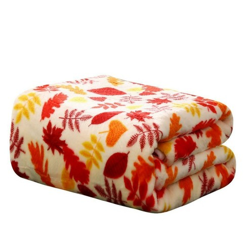 Kate Aurora Ultra Soft & Plush Fall Autumn Leaves Hypoallergenic Fleece Throw Blanket Cover - - image 1 of 2