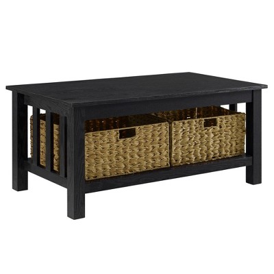 Ethan Mission Coffee Table with Woven Baskets Black - Saracina Home