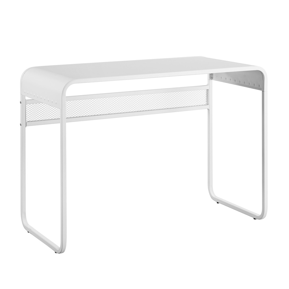 42 Metal Desk with curved top Matte White - Saracina Home