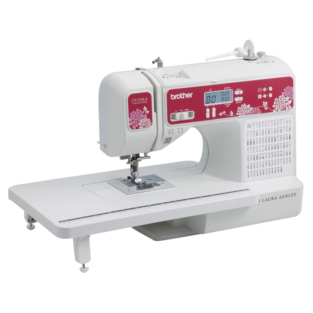 Brother International Laura Ashley CX155LA Sewing Machine, White The Brother CS155LA Sewing Machine features 100 unique built-in stitches, including 8 styles of 1-step buttonholes, plus 55 alphanumeric stitches for basic monogramming. This model comes complete with a full set of accessories, including 11 sewing and quilting feet, and an extra wide table that makes your total workspace, which is ideal for window treatments and larger quilts. Enjoy sewing, quilting, and adding basic monogramming to your creations with this versatile, feature-rich Laura Ashley Limited Edition computerized sewing and quilting machine. Designed for ease of use, the CX155LA features a large, backlit Lcd display for easy viewing, an advanced needle threading system, adjustable speed control, and the Brother exclusive jam resistant, Quick-Set top drop-in bobbin. Make your own unique and personal design statement with this affordable, yet feature-packed machine! 100 built-in stitches, including 8 one-step auto-size buttonhole styles. Includes 1 built-in monogramming sewing font, perfect for basic monogramming. Large backlit Lcd display for easy viewing in low light. Brightly Lit Led Work Area. Advanced easy needle threading system. Variable speed control and start/stop button. Smooth fabric feeding utilizing 7-point feed dogs. Jam resistant Quick-Set drop-in top bobbin. Includes 11 quick-change presser feet. Color: White.