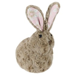 "Northlight 8"" Plush Floral Eared Bunny Easter Rabbit Spring Figure - Brown/Pink"