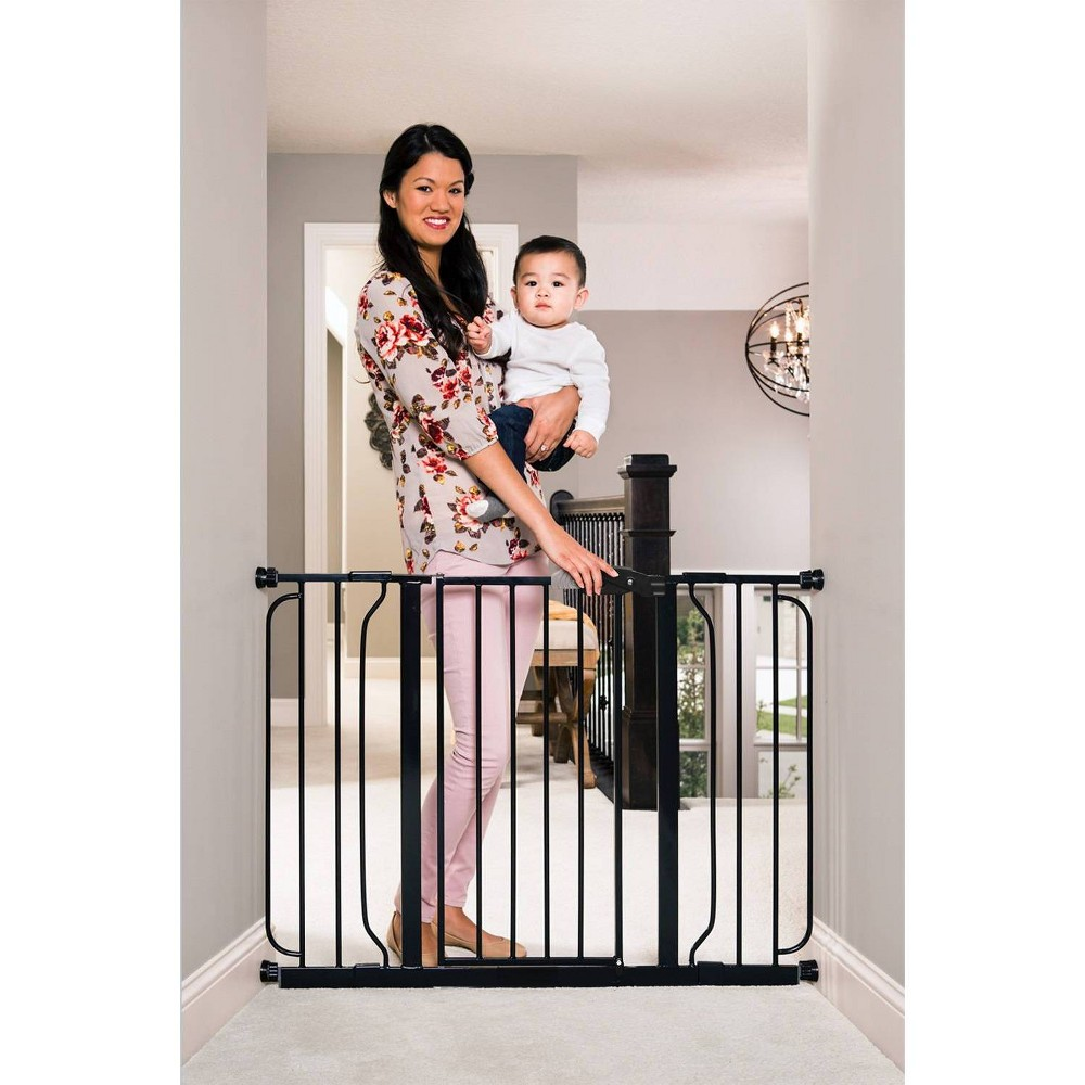 Image of Regalo Extra Wide Easy Step Metal Walk -Through Baby Gate - Black