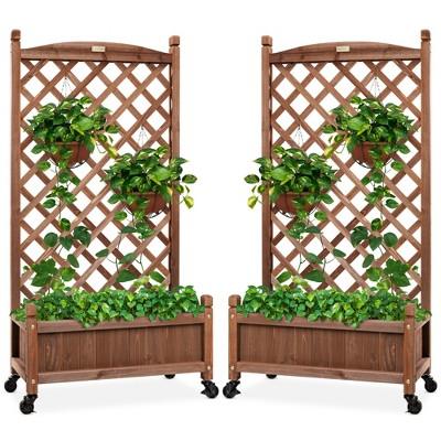 Best Choice Products Set of 2 48in Wood Planter Box & Diamond Lattice Trellis, w/ Drainage, Optional Wheels - Walnut