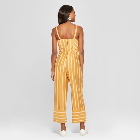 dd9d6f615ef8 Women s Striped Strappy Square Front Knit Jumpsuit - Xhilaration™ Mustard White  XXL   Target