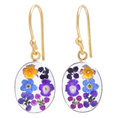 Women's Gold over Sterling Silver Pressed Flowers Small Oval Drop Earrings