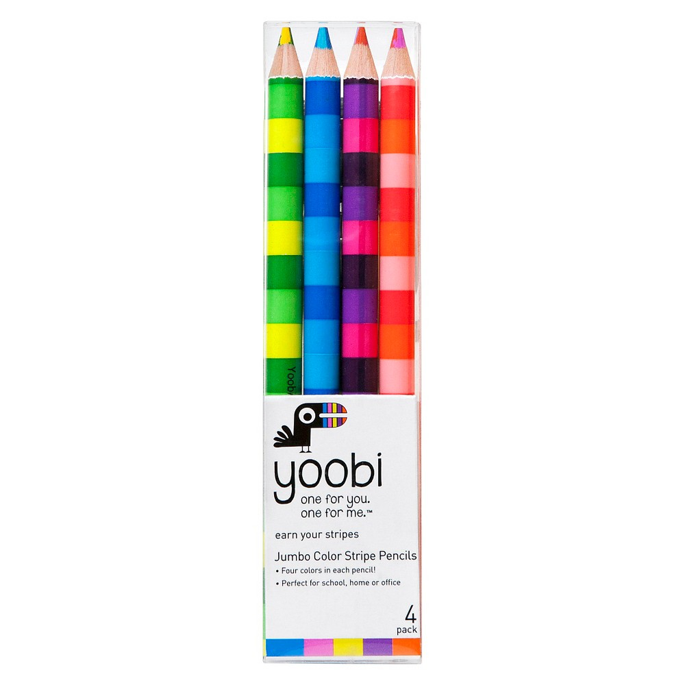 Yoobi Jumbo Color Stripe Colored Pencils - Multicolor, 4 Pack, Multi-Colored