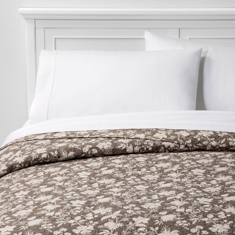 King Family Friendly Floral Quilt Natural - Threshold was $79.0 now $39.5 (50.0% off)