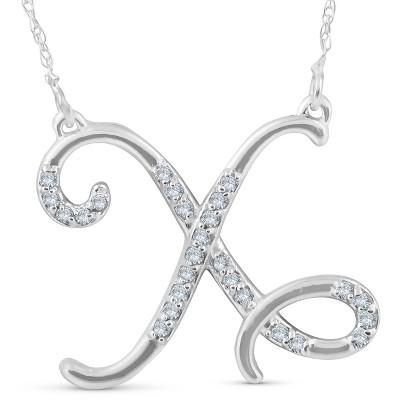 """Pompeii3 1/4ct Diamond """"X"""" Initial Pendant 18"""" Necklace 14K White Gold"""