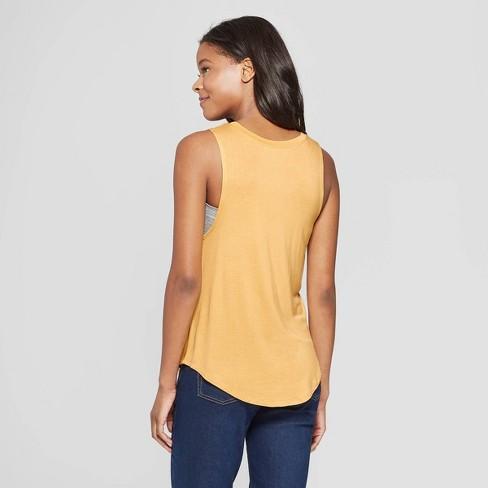903e40f0130a91 Women s Be Happy Scoop Neck Tank Top - Grayson Threads (Juniors ) - Yellow    Target