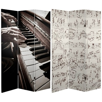 """6"""" Double Sided Music Canvas Room Divider Gray - Oriental Furniture"""