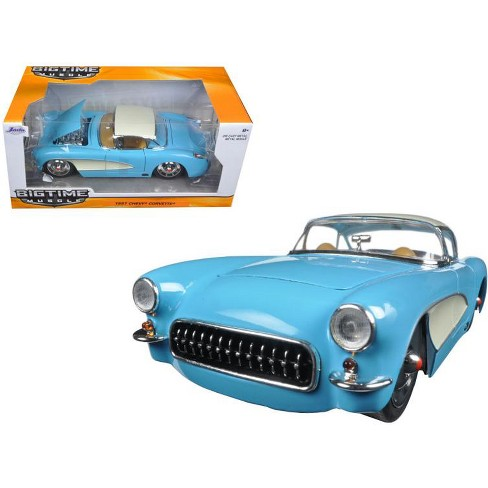1957 Chevrolet Corvette Sky Blue with Cream Top and Side 1/24 Diecast Model Car by Jada - image 1 of 1
