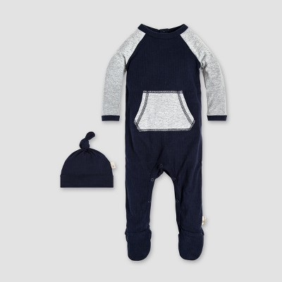Burt's Bees Baby® Organic Cotton Raglan Footed Coverall & Hat Set - Midnight 0-3M