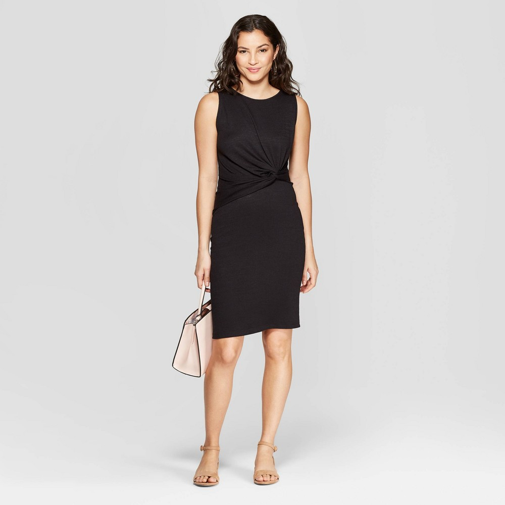 Women's Short Sleeve Boat Neck Twisted Knit Dress - A New Day Black XL