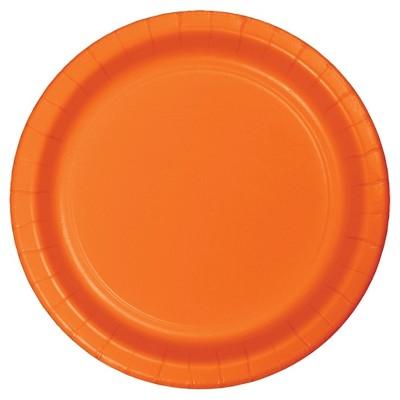 "Sunkissed Orange 7"" Dessert Plates - 24ct"