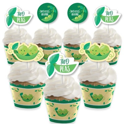 Big Dot of Happiness Double the Fun - Twins Two Peas in a Pod - Cupcake Decor - Baby Shower or Birthday Party Cupcake Wrappers & Treat Picks Kit-24 Ct