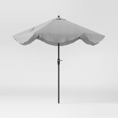 9' Round Scalloped Patio Umbrella DuraSeason Fabric™ Gray - Threshold™