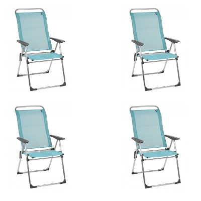 Lafuma Alu Cham Folding, Adjustable 5-Position Reclining Outdoor Mesh Sling Chair for Camping, Beach, Backyard, and Patio, Lac Blue (Set of 4)