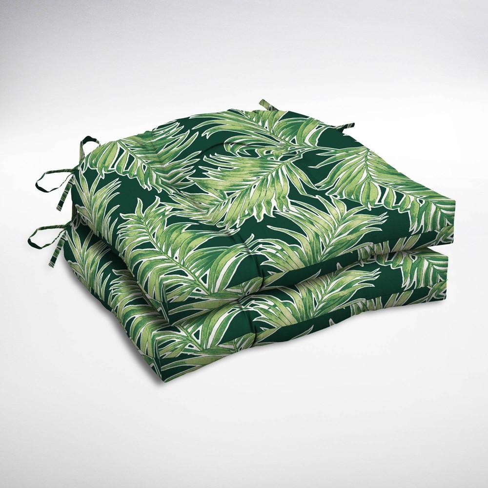 2pk Quintana Tropical Wicker Chair Cushions Emerald - Arden Selections, Green