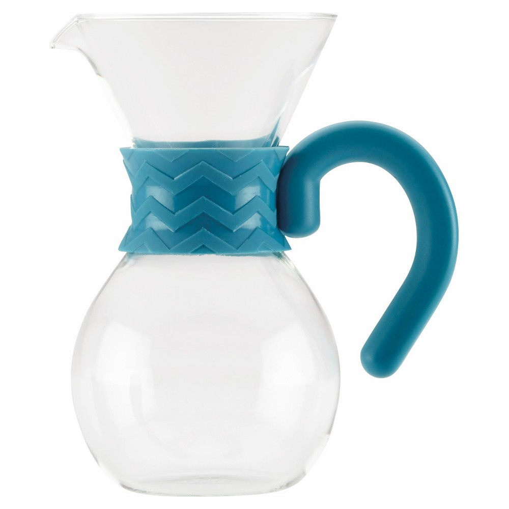 Image of Bonjour Coffee 20oz Glass Pour Over Brewer and Pitcher, Blue