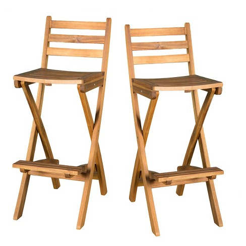 Sensational Tundra Set Of 2 Acacia Wood Folding Patio Bar Chair Natural Christopher Knight Home Pabps2019 Chair Design Images Pabps2019Com