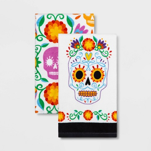 2pk Da de Muertos Skull Kitchen Towel - image 1 of 1