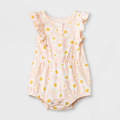 Grayson Mini Baby Girls' Sunflower Ruffle Romper - White 3-6M