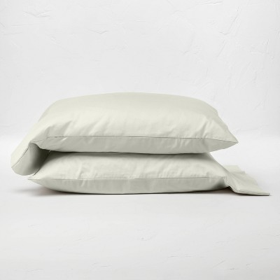 Standard 500 Thread Count Washed Supima Sateen Solid Pillowcase Set Natural - Casaluna™