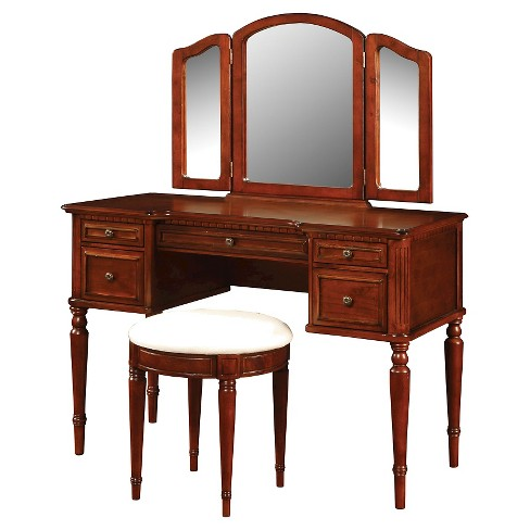 Peachy Zelda Vanity Mirror Bench Warm Cherry Powell Company Squirreltailoven Fun Painted Chair Ideas Images Squirreltailovenorg